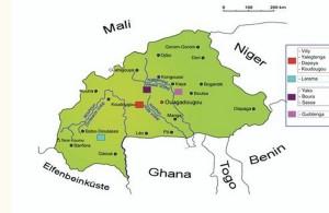 Landkarte Burkina Faso mit Standort gebauter Schulen