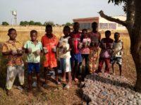 Kinder mit ihren Pflanzensetzlingen in Koudougou